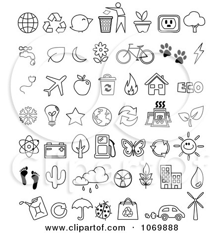 Clipart Outline Ecology Icons - Royalty Free Vector Illustration by yayayoyo