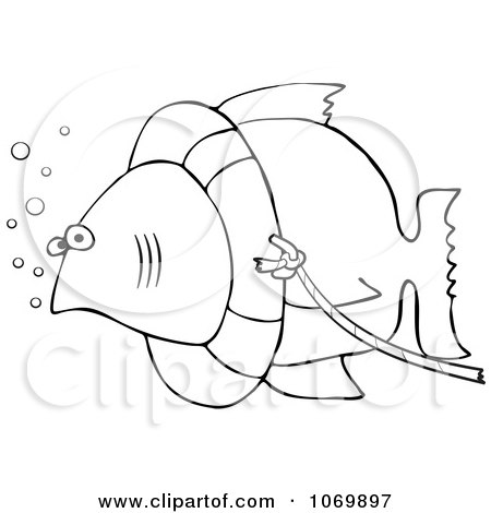 Clipart Outlined Fish With A Life Buoy On Its Head - Royalty Free Vector Illustration by djart