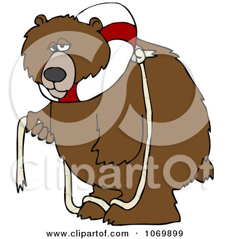 Clipart Bear With A Life Buoy On His Head - Royalty Free Vector Illustration by djart