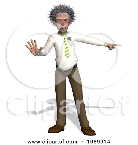 Clipart 3d Halting Man Resembling Einstein - Royalty Free CGI Illustration by Ralf61