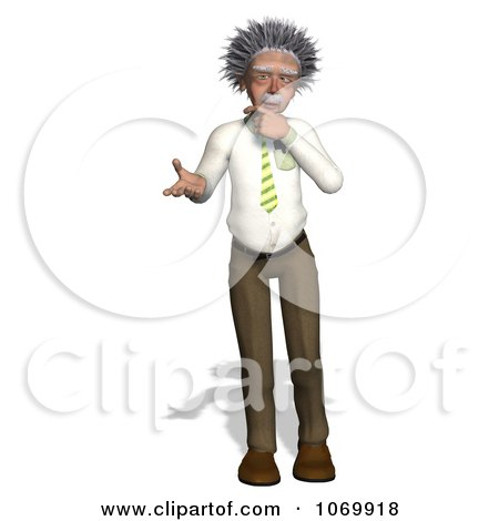 Clipart 3d Confused Man Resembling Einstein - Royalty Free CGI Illustration by Ralf61