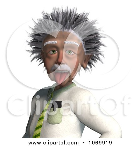 Clipart 3d Man Resembling Einstein Sticking His Tongue Out - Royalty Free CGI Illustration by Ralf61