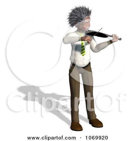 Clipart 3d Violinist Man Resembling Einstein 1 - Royalty Free CGI Illustration by Ralf61