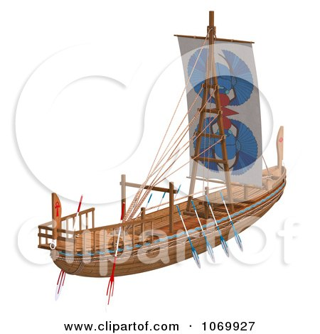3d Egyptian Wooden Boat 2