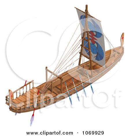 Clipart 3d Egyptian Wooden Boat 4 - Royalty Free CGI Illustration by Ralf61