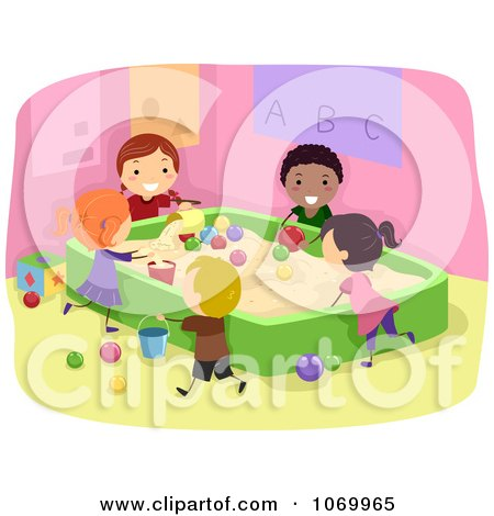Clipart Diverse Stick Students Playing In A Sand Box - Royalty Free Vector Illustration by BNP Design Studio
