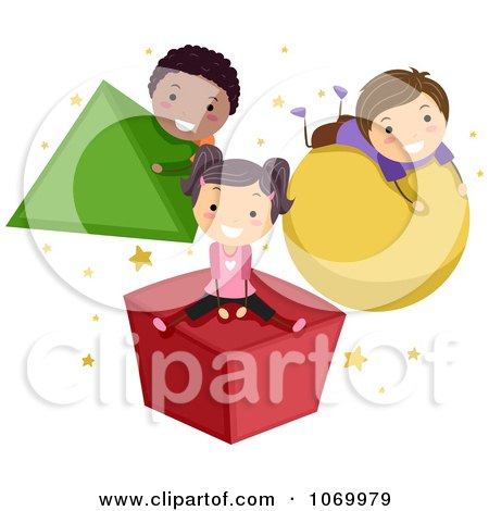 Clipart Stick Students Playing On Shapes - Royalty Free Vector Illustration by BNP Design Studio