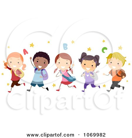 Clipart Diverse Stick Students Running - Royalty Free Vector Illustration by BNP Design Studio