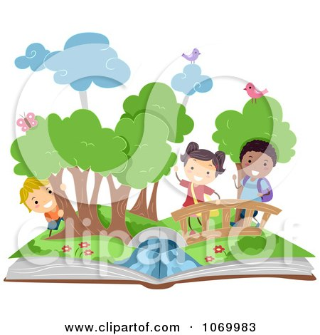 Clipart Diverse Stick Students In A Pop Up Book Scene - Royalty Free Vector Illustration by BNP Design Studio
