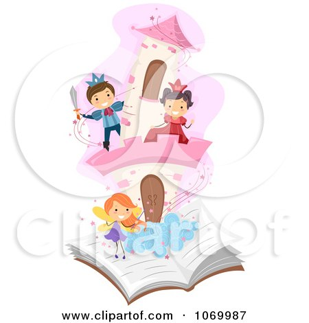 Clipart Diverse Stick Students Playing In A Pop Up Story Book - Royalty Free Vector Illustration by BNP Design Studio