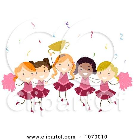 Clipart Diverse Stick Girls Cheerleading - Royalty Free Vector Illustration by BNP Design Studio
