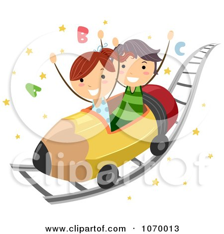Clipart Stick Students On An ABC Roller Coaster Ride - Royalty Free Vector Illustration by BNP Design Studio