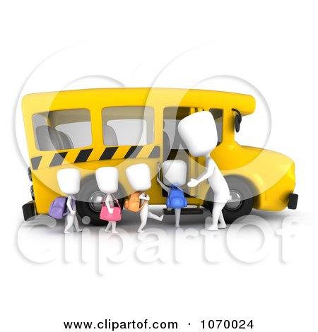 Clipart 3d Ivory Kids Loading A School Bus - Royalty Free CGI Illustration by BNP Design Studio