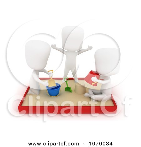 Clipart 3d Ivory Students Playing In A Sand Box - Royalty Free CGI Illustration by BNP Design Studio