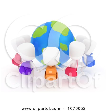 Clipart 3d Students Holding Hands Around A Globe - Royalty Free CGI Illustration by BNP Design Studio