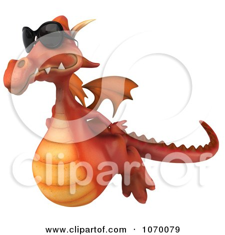 Clipart 3d Red Dragon Wearing Shades In Flight 2 - Royalty Free CGI Illustration by Julos