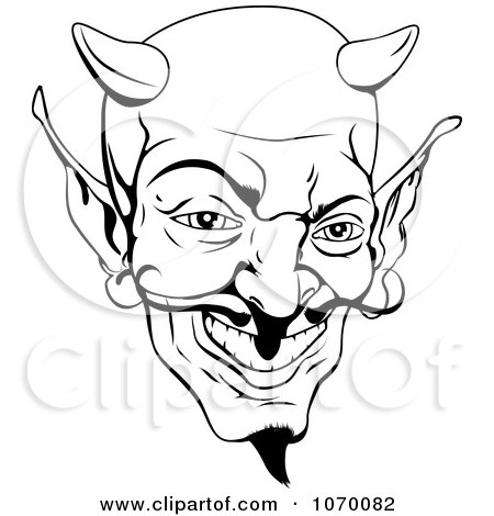 Black and White Devil Clip Art