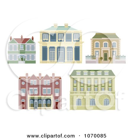Clipart Old Fashioned Homes And Buildings - Royalty Free Vector Illustration by AtStockIllustration