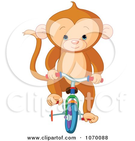 Clipart Cute Monkey Riding A Bike With Training Wheels - Royalty Free Vector Illustration by Pushkin
