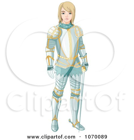 Clipart Young Knight Standing In Armor - Royalty Free Vector Illustration by Pushkin