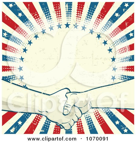 Grungy Liberty Background Of Two Hands Shaking Over A Circle Posters, Art Prints