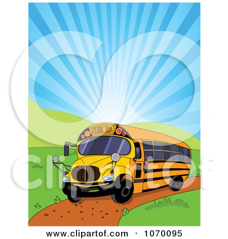 Clipart Yellow School Bus And Shining Sky - Royalty Free Vector Illustration by Pushkin