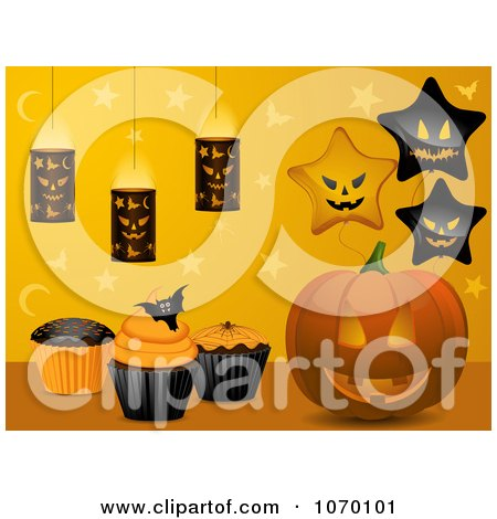 Clipart 3d Jackolantern With Halloween Cupcakes Balloons And Lanterns - Royalty Free Vector Illustration by elaineitalia