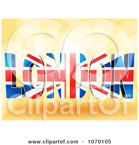 Clipart 3d Word LONDON With The Union Jack Pattern - Royalty Free Vector Illustration by elaineitalia