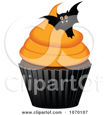 Clipart 3d Halloween Cupcake With A Bat - Royalty Free Vector Illustration by elaineitalia