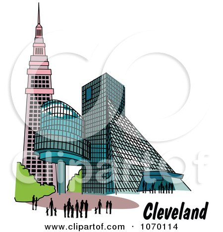 Clipart Buildings In Cleveland Ohio - Royalty Free Vector Illustration by Andy Nortnik