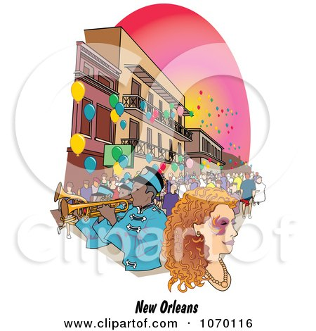 Clipart New Orleans Mardi Gras Street Scene - Royalty Free Vector Illustration by Andy Nortnik