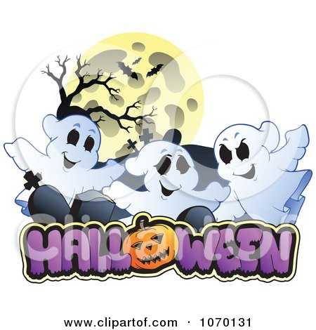 Clipart Full Moon And Cemetery Ghosts Over HALLOWEEN - Royalty Free Vector Illustration by visekart