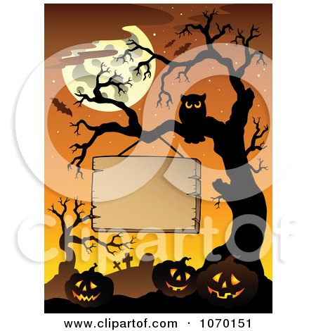 Clipart Blank Sign Hanging Above Jackolanterns On A Cemetery Tree - Royalty Free Vector Illustration by visekart