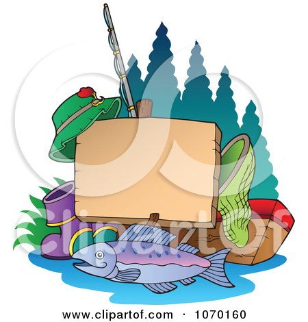 Clipart Fishing Post Sign With Gear - Royalty Free Vector Illustration by visekart