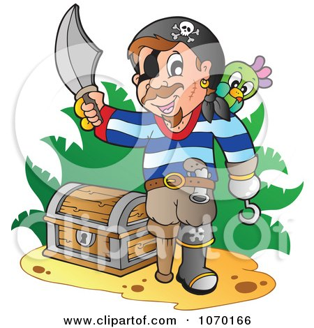 Clipart Pirate Claiming Discovered Treasure - Royalty Free Vector Illustration by visekart