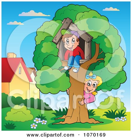Clipart Children Playing At Their Tree House - Royalty Free Vector Illustration by visekart