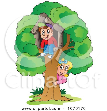 Clipart Kids Playing At Their Tree House - Royalty Free Vector Illustration by visekart