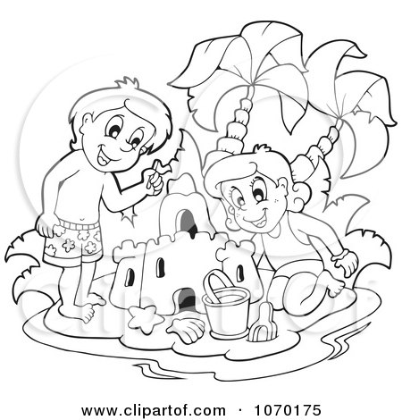 Clipart Outlined Kids Building A Sand Castle - Royalty Free Vector Illustration by visekart