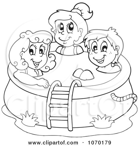 Clipart Outlined Kids In A Swimming Pool - Royalty Free ... Kids Swimming Black And White