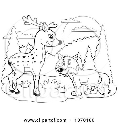 Clipart Outlined Deer And Fox - Royalty Free Vector Illustration by visekart