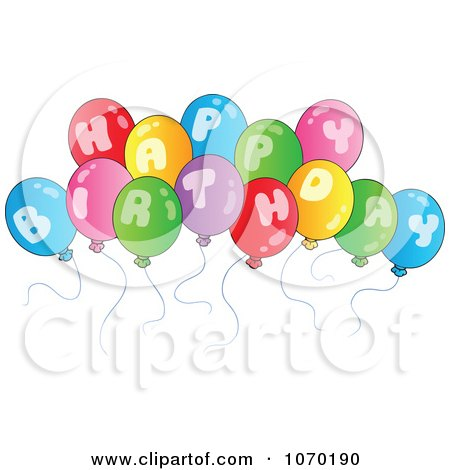 Clipart Happy Birthday Balloons - Royalty Free Vector Illustration by visekart