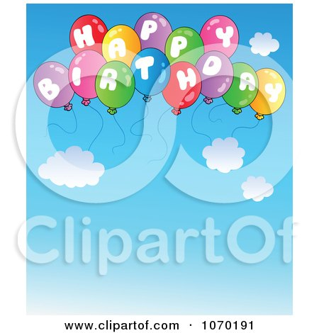 Clipart Happy Birthday Balloons In The Sky - Royalty Free Vector Illustration by visekart