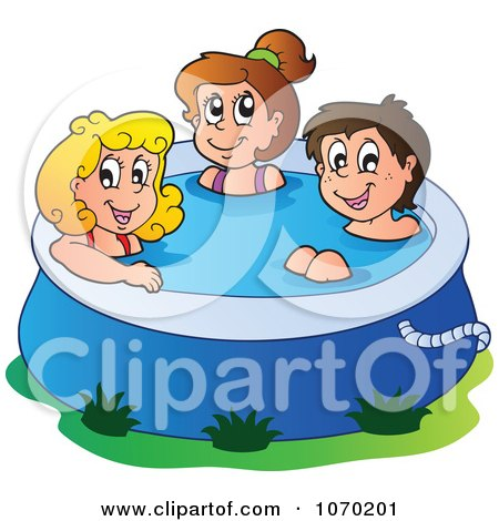 Clipart Summer Kids In A Swimming Pool - Royalty Free Vector Illustration by visekart