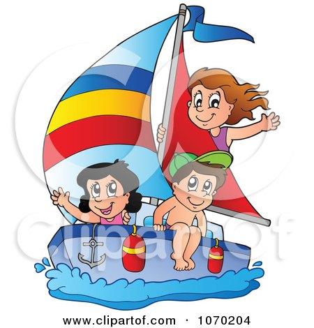 Clipart Summer Kids Sailing - Royalty Free Vector Illustration by visekart