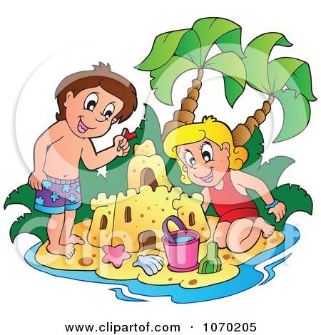 Clipart Children Making A Sand Castle - Royalty Free Vector Illustration by visekart