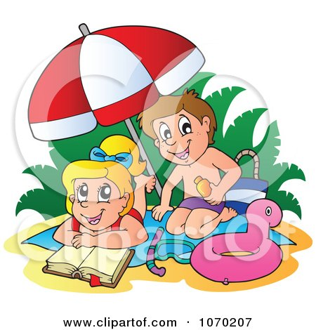 Clipart Boy Applying Sun Block On A Girl At The Beach - Royalty Free Vector Illustration by visekart