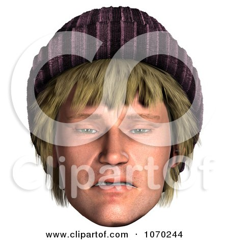 Clipart 3d Upset Hippie Mans Face - Royalty Free CGI Illustration by Ralf61