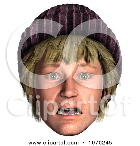 Clipart 3d Shocked Hippie Mans Face 2 - Royalty Free CGI Illustration by Ralf61