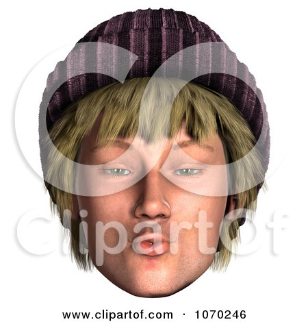Clipart 3d Puckering Hippie Mans Face - Royalty Free CGI Illustration by Ralf61