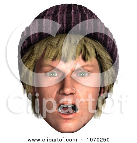Clipart 3d Shocked Hippie Mans Face 1 - Royalty Free CGI Illustration by Ralf61